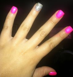 China Glaze Pink Voltage and some glitter please!