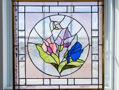 Sweet Peas Judy Miller pattern 20 inches by 20 inches Sweet Peas, Colored Glass, Stained Glass, Pattern, Coloured Glass, Stained Glass Windows, Model, Stained Glass Panels, Leaded Glass