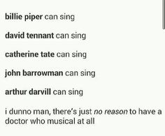 Doctor Who Musical!! And David's singing is fabulous...<<< just putting it out there