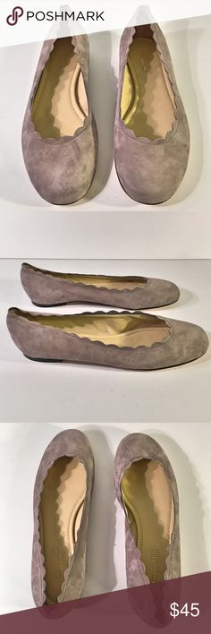 Garnet Hill Gray Suede Scalloped Edge Flats Gorgeous Garnet Hill Gray Suede Scalloped Edge Flats ~ Size 8 ~ Made in Italy ~ Leather Upper, Lining & Sole Garnet Hill Shoes Flats & Loafers