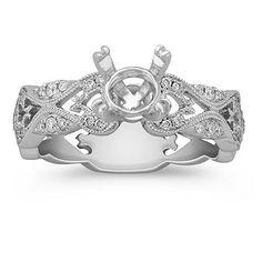 Noori 14k White Gold Moissanit a 1 ct TDW Flower diamantový zásnubní prsten  Set (GH c338fa90a25