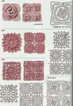 Crochet y dos agujas: 6 grannys con centro floral al crochet - con diagr...