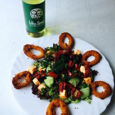 Breaded squid rings salad - feta cheese, pickled tomatoes  Fritz Kola lemonade Fritz Kola, Pickled Tomatoes, Caprese Salad, Pickles, Lemonade, Feta, Bread, Cheese, Rings