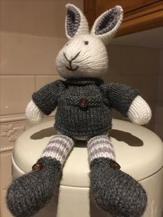 Bunny pattern by Julie Williams - with some modifications Knitted Bunnies, Bunny Rabbits, Crochet Bunny, Knit Or Crochet, Crochet Toys, Pet Toys, Kids Toys, Cross Stitch Patterns, Knitting Patterns