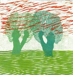 WOODBLOCK LINOCUT PRINT   Holland Willows 6  Relief by magprint, $30.00