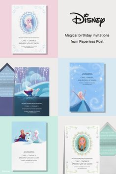Frozen invitations by Paperless Post. Online Disney invitations for kids' birthdays with easy-to-use design tools and RSVP tracking. View other Disney invitations on https://www.paperlesspost.com/cards/group/disney?&utm_medium=paid_social&utm_source=pinterest&utm_campaign=disney_partner_launch&utm_content=promoted_pin_frozen&pp_channel=marketing