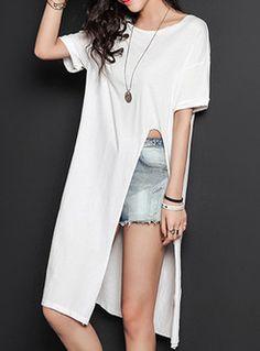 Pure Color Slit Patch Long T-Shirt