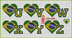 Meu Cantinho: Gráficos em Ponto Cruz Motivo Copa !!! !!! Brazil Flag, Initial Letters, Punch Needle, Patch, Lettering Design, Hand Stitching, Alphabet, Kids Room, Initials