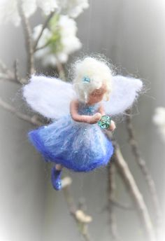 Blue fairy ornament needlefelt by ElineFeltingArt on Etsy