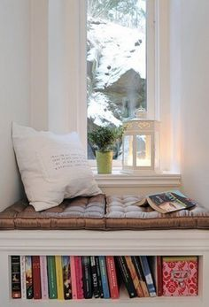 Window seat for guest bedroom by closet. --- diy window seat with cushions, storage and decorative pillows Cozy Nook, Cozy Corner, Bed Nook, Porch Nook, Sweet Corner, Small Corner, Corner Shelf, Book Nooks, Reading Nooks