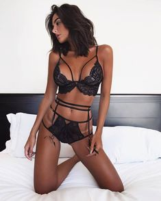 Beautiful Brunette in Sexy Tight Lingerie