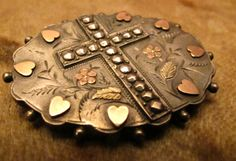 Victorian Mourning Brooch with Hearts and a Cross Design front and Photo Back