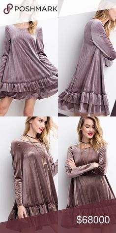 Mushroom Velvet Double Ruffle Hem Dress COMING!!! Mushroom Velvet Double Ruffle Hem Dress  Available in Mushroom & Mauve Grey Price Is Firm No Trades Glamvault Dresses