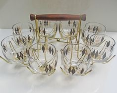 Federal Harlequin Atomic Black Diamond Roly Poly Glasses - Set of 8 Black and Gold Geometric Glasses with Spider Carrier