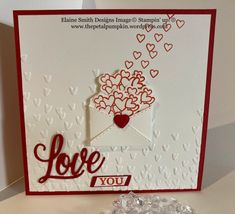 Valentine Day Cards, Valentines, Card Sentiments, Square Card, Red Poppies, Embossing Folder, Love Letters, Stampin Up, Paper Crafts
