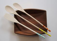 Painted Wooden Spoon  Colored Spoon  Painted by ReInventHome