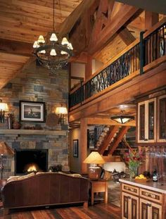 Beautiful log cabin living room with a loft! Wonderful fireplace~ Home sweet home Design Living Room, Living Area, Design Room, Design Design, Living Rooms, Log Cabin Homes, Log Cabins, Cabins In The Woods, Dream Rooms