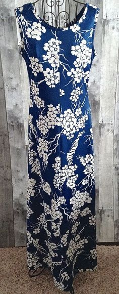 Vintage 1960s Leslie Fay Knits Maxi Dress Gown Stretch Floral Sleeveless Size 12 #LeslieFay #MaxiDress
