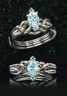 Aquamarine engagement rings: Marquise aquamarine puzzle engagement ring