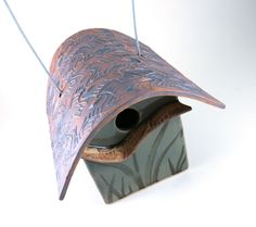 Birdhouse - Ceramic Garden Art - River Cottage Bird House