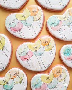 Royal Icing Cookies, Sugar Cookies, Valentine Cookies, Decorated Cookies, Cookie Decorating, Watercolour, Homemade, Baking, Sweet