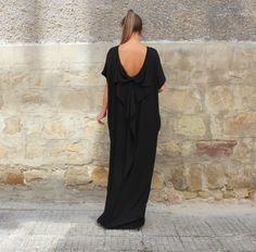 Black Maxi Dress Backless dress Caftan by cherryblossomsdress