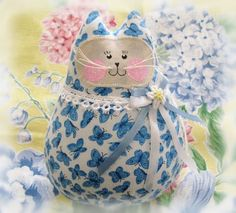 Cat Doll White Floral and Butterflies Prints 6 by CharlotteStyle, $15.00