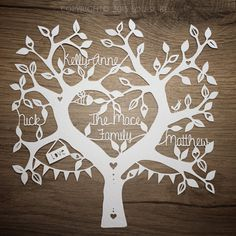 Personalised Family Tree Handmade Papercut (up to four names, unframed) Designed and handcut by Louise Bell