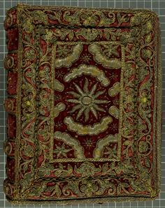 Wardlaw Bible (front cover) | Amsterdam | 1640 | velvet, silver & gold thread | St Andrew's University Library | Call #: BS170.C40 | Presented to Sir Henry Wardlaw of Pitreavie by King Charles I for his service to Queen Anne.