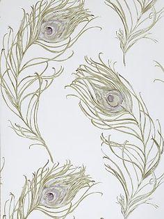 Prestigious Textiles Peacock Wallpaper, Heather