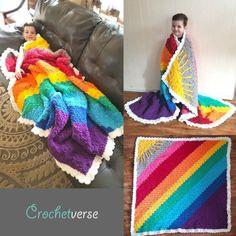 "Crochet Afghans Ideas Rainbow ""Weighted"" Afghan By Stephanie Pokorny - Free Crochet Pattern - (ravelry) - Crochet Afghans, Baby Blanket Crochet, Free Crochet, Knit Crochet, Crochet Blankets, Learn Crochet, Crochet Humor, Baby Afghans, Baby Blankets"