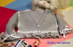 emilia y sus labores de punto: chaqueta bebé gris y perlé