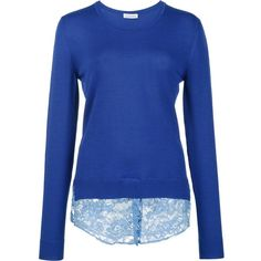 Altuzarra lace hem sweater (€845) ❤ liked on Polyvore featuring tops, sweaters, blue, blue sweater, royal blue top, blue top, altuzarra and royal blue lace top