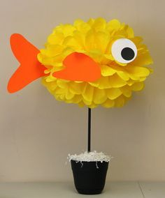 Fish Goldfish tissue paper pom pom kit under by TheShowerPlanner