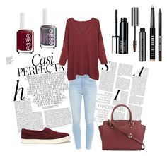 """""""red  basic look"""" by judith-de-vries ❤ liked on Polyvore featuring Whiteley, Lauren Ralph Lauren, Paige Denim, Violeta by Mango, MICHAEL Michael Kors, Essie, Clinique and Bobbi Brown Cosmetics"""