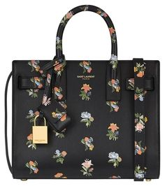 6be46a03c8eb Saint Laurent Nano Sac De Jour In Flower Printed Leather Black Tote Bag.  Get one