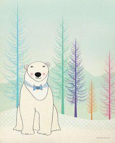 Art Print, Polar Bear, Wall Art, Children, Nursery, Dome Decor, Original Illustration by Penelope and Pip