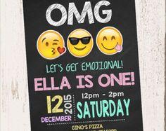 INVITACIÓN de cumpleaños de EMOJI Emojis invitan a por Asapinvites