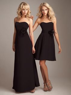 Strapless chiffon bridesmaid dress with empire waist