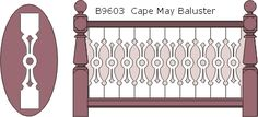 B9603 Cape May flat sawn balusters, railings and 13010 posts