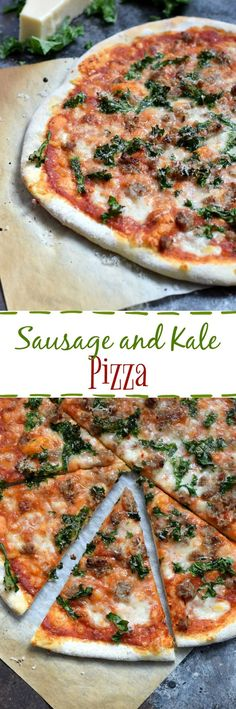 Your family will be so happy when this hot and delicious Sausage and Kale Pizza comes out of the oven | cookingwithcurls.com