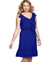 Love Squared Plus Size Dress, Sleeveless Ruffled Belted