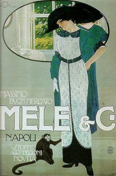 POSTER E/&A MELE ITALIAN FASHION LADY DRESS HAT GLOVES VINTAGE REPRO FREE S//H
