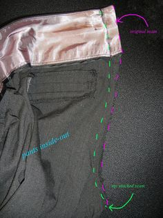 diy: how to take in pants at the waist. IT IS AWESOME! It's nice to have nice dress pants that fit and I didn't have to spend a dime for new pants. Just spend a couple hours altering my current pants but so worth it! Altering Pants, Altering Clothes, Sewing Pants, Sewing Clothes, Work Clothes, Techniques Couture, Sewing Techniques, Sewing Tutorials, Sewing Patterns