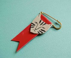 Hand painted leather cat ribbon