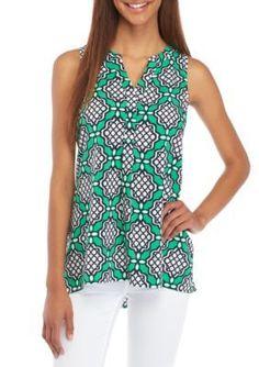 Crown  Ivy  GreenNavyWhite Petite Sleeveless Shirt