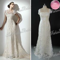Eli Saab 2012 New Arrival Short Sleeve Fitting Bodice Empire Vintage Weddings Lace Wedding Dresses