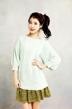 Rock IU's casual but cute look with a knit and mini.