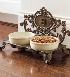 Pamper your pet with this elegant cast iron Personalized Decorative Baroque Pet Feeder.