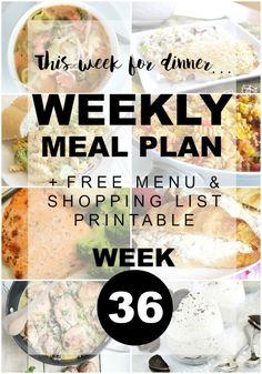Recipe Ideas  Weekly Menu Plan-Dinner Ideas